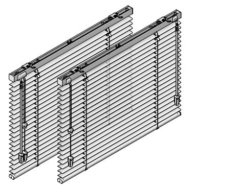 Optrekkoord en aluminum designstang links tuimelen, links trekken
